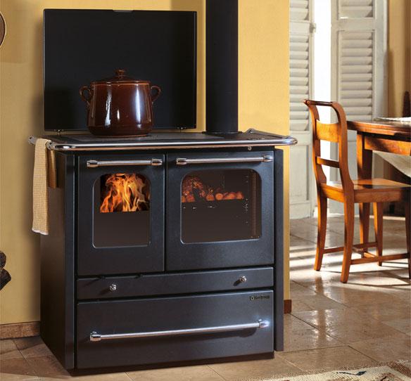 Cucina a legna Sovrana Termo nordica 13,5 Kw Grigio Antracite