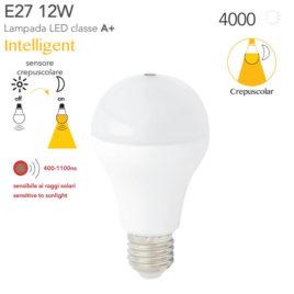Lampadina con sensore Crepuscolare a Led Intec Light E27 12watt=85watt 4000K