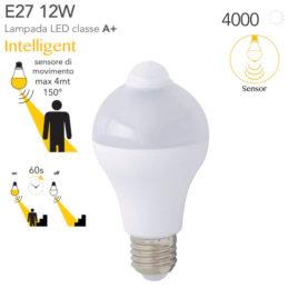 Lampadina con sensore di movimento Intelligente Intec light E27 12watt=85watt 4000K